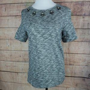 Loft Short Sleeve Shirt with Embellished Collar